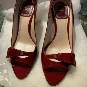Dior City Peep Toe 9cm patent red